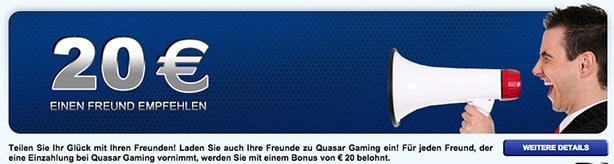 Quasar Gaming Bonus ohne Einzahlung
